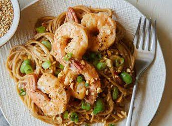 Edamame Spaghetti with Shrimp Recipe